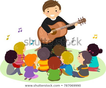 Homem padre jogar guitarra cantar ilustração Foto stock © lenm