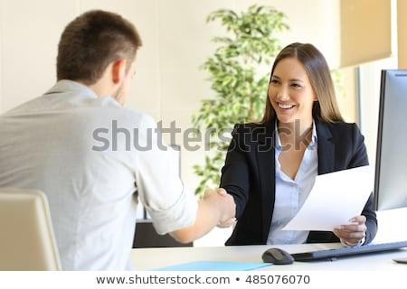 zakenvrouw · sollicitatiegesprek · jonge · vergadering · kantoor · papier - stockfoto © AndreyPopov