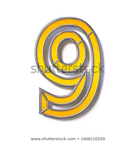 Oranje metaal draad doopvont aantal negen Stockfoto © djmilic