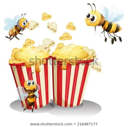 Bienen Popcorn Illustration Mais schwarz Fett Stock foto © colematt
