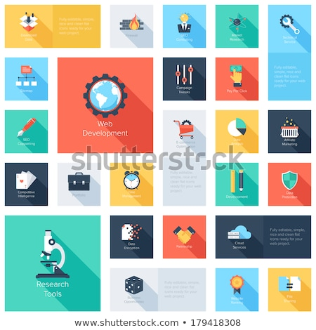 Stock photo: Vector collection of colorful flat search engine optimization, business, technology and finances ico
