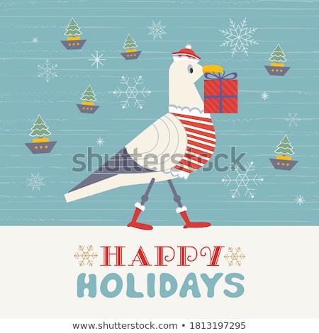 Seabird or Gull, Stylized Nautical Emblem Vector Stock photo © robuart