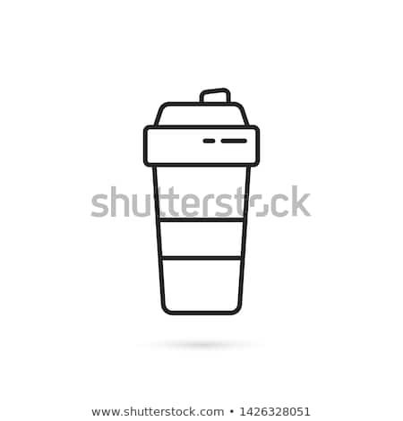 Eiwit container sport vector dun lijn Stockfoto © pikepicture