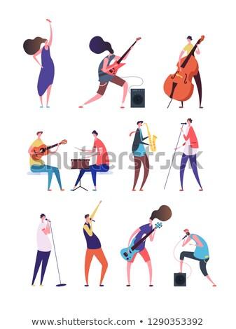 Zene előadó személy szórakoztat izolált emberek Stock fotó © robuart