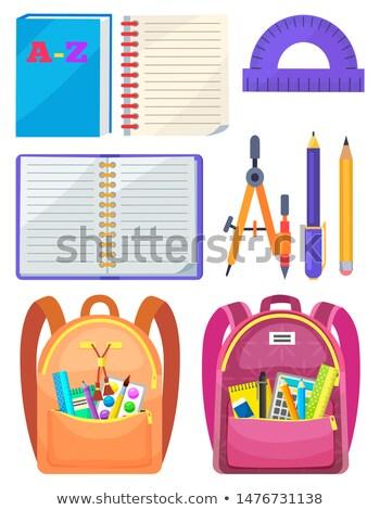 escuela · mochila · cuaderno · vector · lápiz · sacapuntas - foto stock © robuart