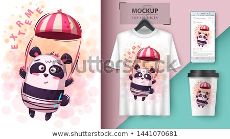 parachute panda - mockup for your idea Stock photo © rwgusev