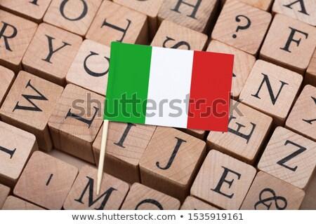 Small Italian Flag On Letter Wooden Blocks Stock photo © AndreyPopov