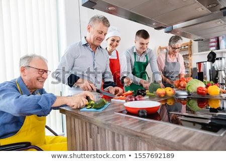 Táplálkozástudós képzés konyha étel férfi férfiak Stock fotó © Kzenon