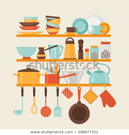 dishware on shelf kitchen appliances cook vector stock photo © robuart