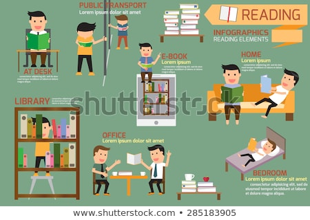 knowledge businessman reading books and info vector stock photo © robuart