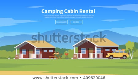 Camping cabin banner design, flat style illustration Stock photo © shai_halud