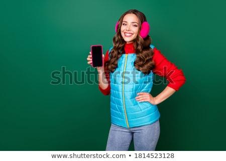 Uśmiechnięta kobieta ręce biodra ludzi szczęśliwy Zdjęcia stock © dolgachov