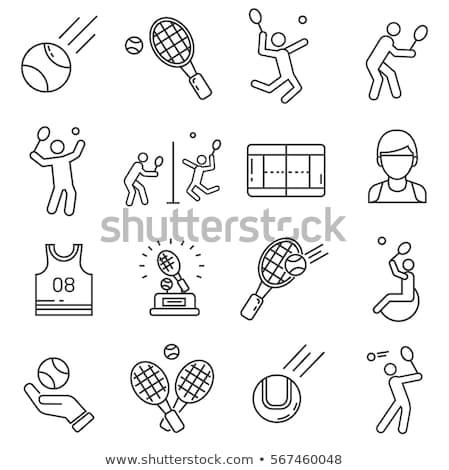 Tenisz játék bíróság ikon vektor skicc Stock fotó © pikepicture