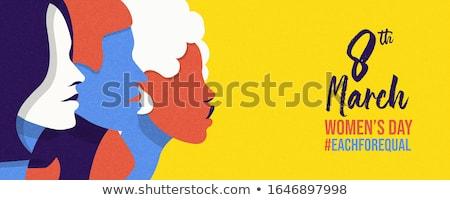 Women's day card of diverse women social team Stock photo © cienpies