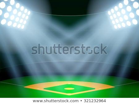 Baseball stadion izzik lámpák éjszaka vektor Stock fotó © pikepicture