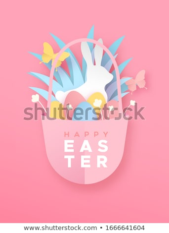 Happy easter papercut flower egg and rabbit card Stock photo © cienpies