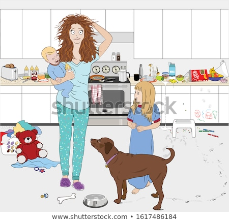 overwhelmed young woman in pajama holding to head Stock photo © dolgachov
