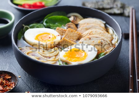 korean cuisine, spicy ramen noodles with spinach and egg Stock photo © galitskaya