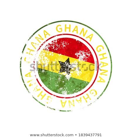 Ghana sign, vintage grunge imprint with flag on white Stock photo © evgeny89