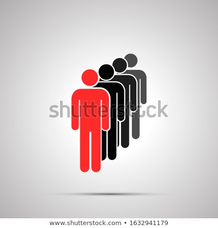 Group of men silhouettes in a row with leader, simple black icon with shadow on gray Stock photo © evgeny89