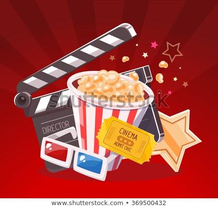 Bioscoop popcorn 3d-bril filmindustrie gunning Stockfoto © jossdiim