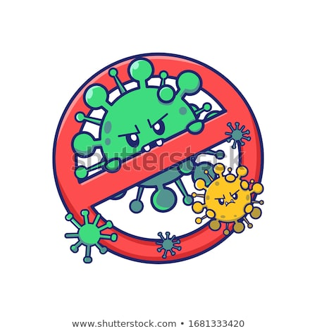 Stop Influenza Flu Cartoon Sign Stock photo © patrimonio