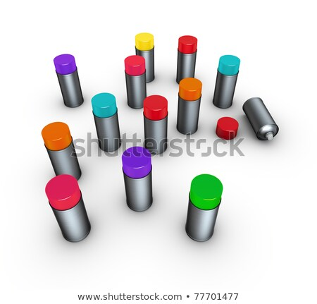 3d render group of spray-cans in different colors on white  Stock photo © Melvin07