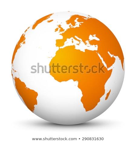 Laranja globo linha arte botão isolado Foto stock © cidepix