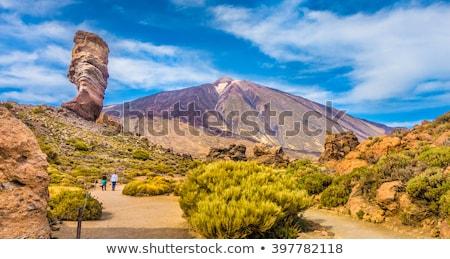 Tenerife manhã luz famoso rocha nuvens Foto stock © Maridav