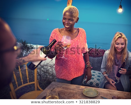 Woman drink wine on veranda Stock photo © pekour