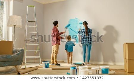Father and daughter preparing to paint house Stock photo © photography33