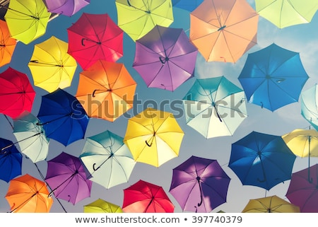 Kolorowy parasol wewnątrz niebieski tkaniny czerwony Zdjęcia stock © david010167