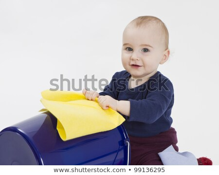 toddler with bucket and floor cloth stock photo © gewoldi