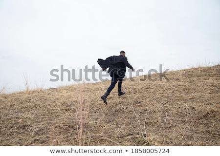 Otono invierno hombre retrato aire libre secado Foto stock © lunamarina