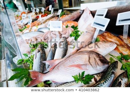 свежие рыбы рынке готовый продажи здоровья Сток-фото © frank11