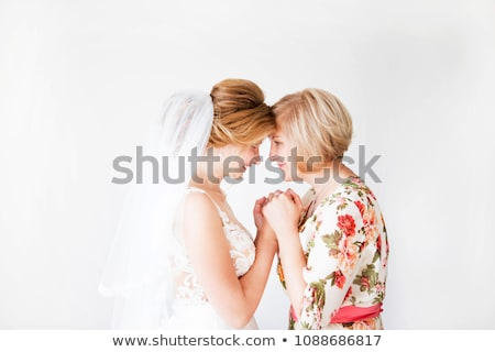 menyasszony · kaukázusi · kéz · a · kézben · virág · lány · tengerpart - stock fotó © alphababy