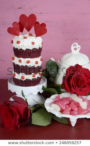 Vermelho veludo rosa rosas país jardim Foto stock © emattil
