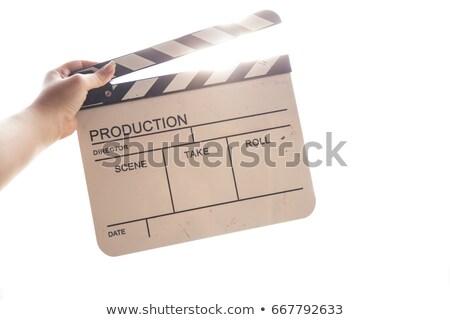 movie clapper clapboard clapperboard film slate in green stock photo © experimental