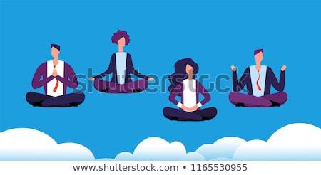 üzletember · meditál · kezek · kék · jóga · fekete - stock fotó © photography33