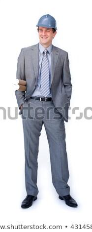 Charyzmatyczny mężczyzna architekta kask odizolowany Zdjęcia stock © wavebreak_media