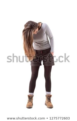 Lány hosszú haj görbület lefelé teljes alakos portré Stock fotó © stockyimages