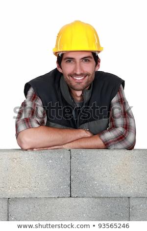 Uśmiechnięty handlowiec mur pracownika zęby Zdjęcia stock © photography33
