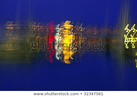 Abstract night blurry colorful lighs over blue Stock photo © lunamarina