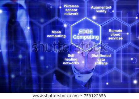 expert in blue hexagon Stock photo © marinini