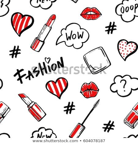 Mooie rode lippen witte vrouw Stockfoto © ra2studio