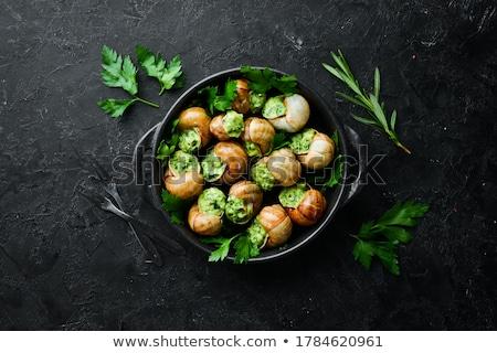Sarımsak tereyağı taze otlar arka plan restoran Stok fotoğraf © stevemc