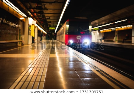 moving subway train with an empty subway platform stock photo © aetb