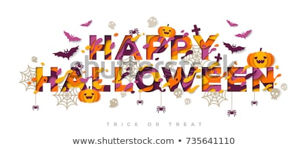 Mutlu halloween tebrik kartı turuncu renkli Stok fotoğraf © bharat