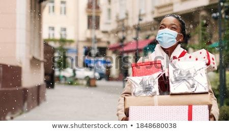 compras · Navidad · mujer · mujer · sonriente · aislado · blanco - foto stock © Kurhan