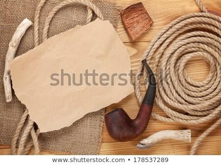 Papier pièce espace de copie tabac pipe bois Photo stock © karandaev